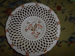 Antique hard tile wall bowl with pierced border (late 1800s)