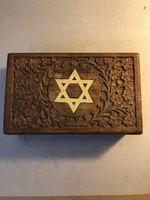Régi fa doboz, dávid csillaggal és Israel felirattal