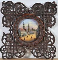 Antik porcelán festmény, Pirna város látképe, 19. század