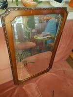 Faragott keretű tükör, 41x69 cm+ keret