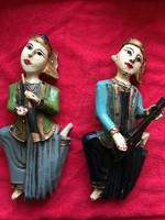 Tibeti vagy Mongol? Zenész fa szobrok antik kincsek