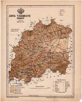 Árva vármegye térkép 1899, Magyarország atlasz (a), Gönczy Pál, 24 x 30 cm, megye, Posner Károly