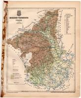 Borsod vármegye térkép 1899, Magyarország atlasza, régi, Gönczy Pál, Posner Károly, megye, eredeti