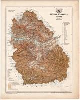 Hunyad vármegye térkép 1899, Magyarország atlasz (a), Gönczy Pál, 24 x 30 cm, megye, Posner Károly