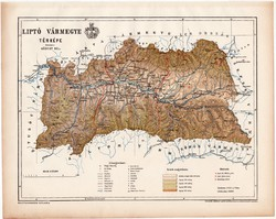 Liptó vármegye térkép 1899, Magyarország atlasz (a), Gönczy Pál, 24 x 30 cm, megye, Posner Károly