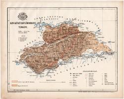 Kis - Küküllő vármegye térkép 1899, Magyarország atlasz (a), Gönczy Pál, 24 x 30 cm, megye, Posner K