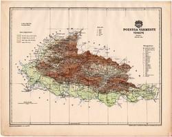 Pozsega vármegye térkép 1899, Magyarország atlasz (a), Gönczy Pál, 24 x 30 cm, megye, Posner Károly