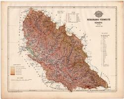 Máramaros vármegye térkép 1899, Magyarország atlasz (a), Gönczy Pál, 24 x 30 cm, megye, Posner K.