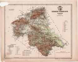 Zágráb vármegye térkép 1899, Magyarország atlasz (a), Gönczy Pál, 24 x 30 cm, megye, Posner Károly