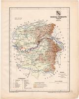 Ugocsa vármegye térkép 1899, Magyarország atlasz (a), Gönczy Pál, 24 x 30 cm, megye, Posner Károly