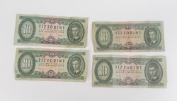 Régi retro 10 Ft-os bankjegyek, 4 db, 1962,1960-as