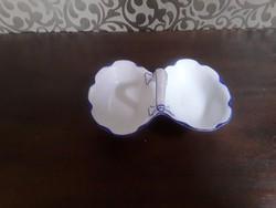 KPM füles, kettős porcelán fűszertartó kék dekorral / 2476