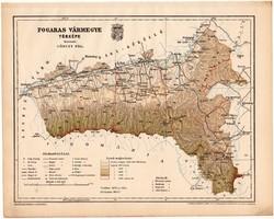 Fogaras vármegye térkép 1899, Magyarország atlasz (a), Gönczy Pál, 24 x 30 cm, megye, Posner Károly