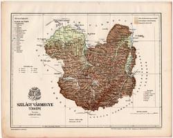 Szilágy vármegye térkép 1899, Magyarország atlasz (a), Gönczy Pál, 24 x 30 cm, megye, Posner Károly