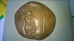 1972 Városi KISZ Székesfehérvár jelz.bronz relief-plakett +doboza