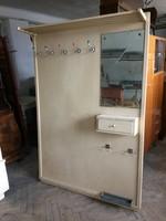 Vintage régi esernyőtartós art deco fa előszobafal fogas fiókos előszoba bútor