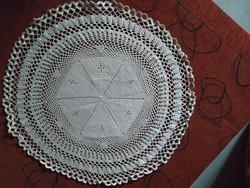 Antik horgolt kerek terítő, asztalközép, hibátlan, 47 cm
