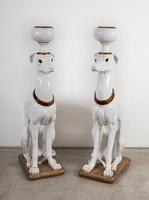 Paolo Marioni óriás méretű mázas terrakotta kutya pár