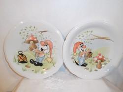Porcelán - JELZETT -  Német - gyermek tányérok - lapos - mély - 19 cm - hibátlan