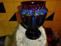 Mezőtúri  szignált folyatott mázas váza