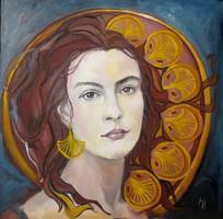 Rubínia - Női portré  - Magony Henriett festmény
