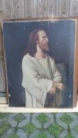 Antik, vászonra festett Jézus, keret nélkül eladó!Olaj-vászon technika, keret nélkül.