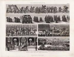 Kultúrtörténet - újkor (43), egyszín nyomat 1875, német, bevonulás, gyászmenet, koronázás, menet