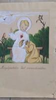 Antik, kartonra festett szentkép eladó!