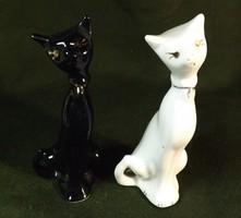 Porcelán cica pár , fekete fehér