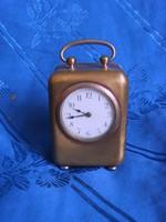 Antik pici kis réz csörgő utazó óra 8cm