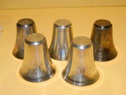 Ezüstözött monogramos feles poharak 5 db.