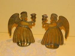 Sárga réz angyalos gyertyatartó pár.