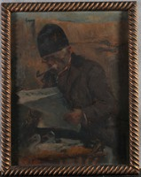 Kasznár Ring Jenő (1875-1945): Újságolvasó parasztember