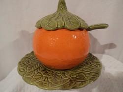 Kerámia - 3 db - Olasz - lekvár - jam - dzsem tartó - narancs 0,5 l - tányér 20 cm - kanál 14 x 4 cm