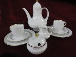 Scherzer porcelán, 2 személyes teáskészlet. Hófehér, arany szegéllyel.