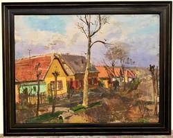 Novák Lajos (1927 - 1989) Utcarészlet c. olajfestménye 95x75cm EREDETI GARANCIÁVAL !!