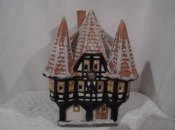 Porcelán ház - nagy - jelzett - Német - égősorral használható17 x 13 x 12 cm mesefaluhoz illeszthető