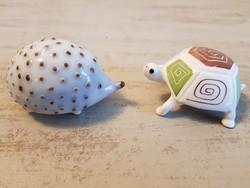 Aquincumi süni + teknős ritka porcelán figurák egy csomagban.