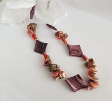 Kagylós nyaklánc narancs színű