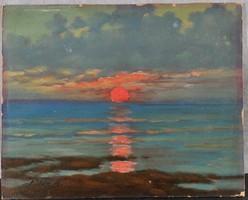"""Ismeretlen művész: Naplemente a tengerparton, """"Fülöp A. """" jelzéssel"""