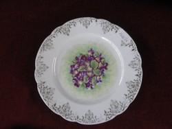 Cseh porcelán süteményes tányér, IBOLYA MINTÁS. Antik.