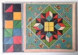 Régi retro Kores márkájú, hiánytalan, jó állapotú fa mozaik kirakó puzzle