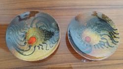Retro Sarkadi kerámia falidísz fali tányér 2 db