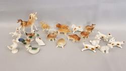 Sok miniatűr porcelán állatka , csomagban olcsón