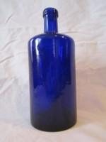 Régi kobaltkék patikai gyógyszeres üveg palack 20 cm