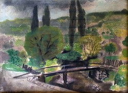 "Pap Gyula ( 1899-1983 ) "" Patakparti táj, híddal 1936.... """