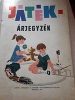 Játék árjegyzék könyv