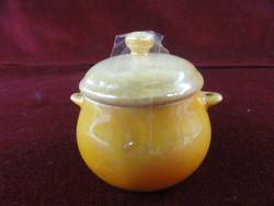 Zsolnay porcelán mini cukortartó, sárga színű.