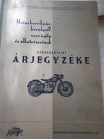 Motorkerékpár varrógép és alkatrészeinek árjegyzéke