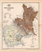 Bereg vármegye térkép 1893 (5), lexikon melléklet, Gönczy Pál, 23 x 29 cm, megye, Posner Károly
